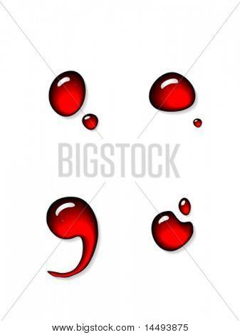 Red liquid semicolon and colon signs