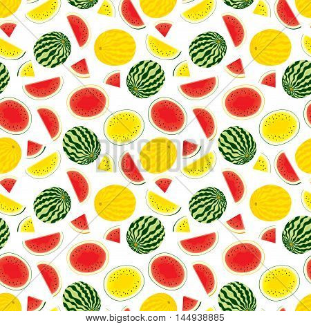 Vector seamless pattern of fresh, red, yellow watermelons, watermelons with yellow peel. Half, slices and whole fruits. Vector illustration in color on white background.