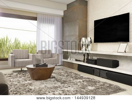 living room picture with sofas, armchairs, carpets and television