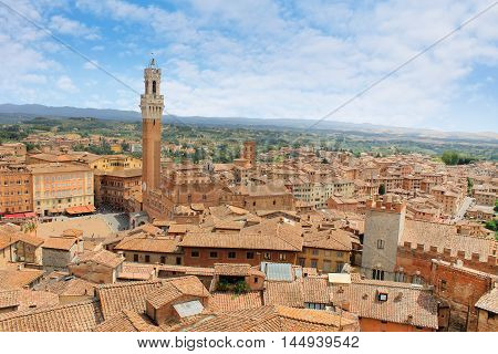 the panorama of Siena City in Tuscany