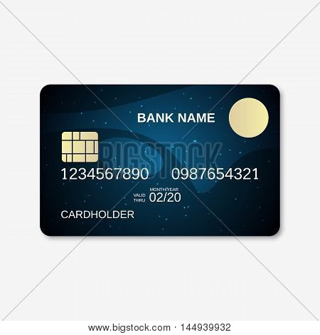 Bank card, credit card design template. Abstract dark blue vector background