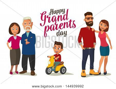 Happy family. Parents grandparents and child on a tricycle. Color flat vector illustration isolated on white background. Hand drawn lettering.