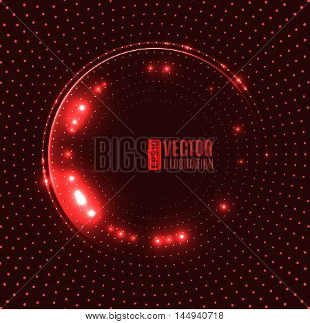 Energy abstract background with luminous swirling of glow circles. Glowing spiral circles in motion. Vector illustration