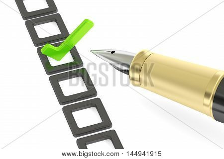 Checklist and fountain pen 3D rendering on white