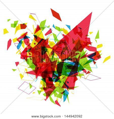 Abstract explosion, Vector background with geometric shapes