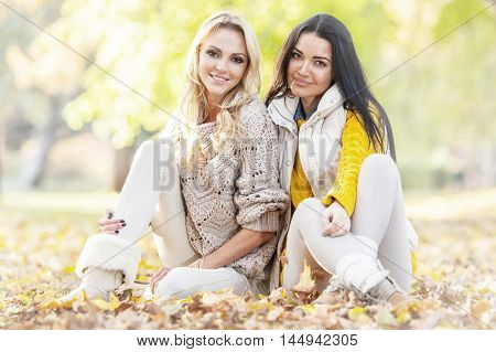 Two cheerful women sitting on dry leaves in autumn park at sunny day
