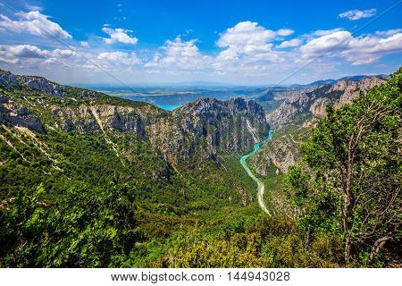 Canyon of Verdon, Provence, France. The largest alpine canyon in Europe in the spring. Magnificent May in the wooded mountains