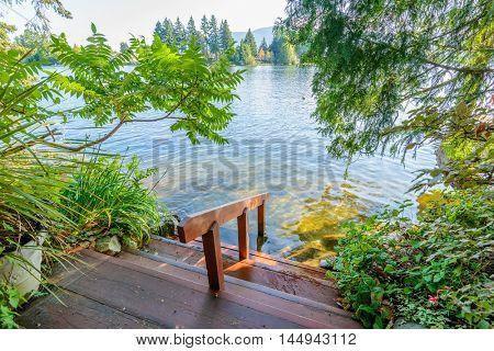 Private lake deck in Vancouver, Canada.