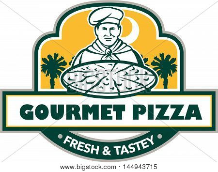 Illustration of a chef with pizza set inside shield and banner with the words text Gourmet Pizza Fresh & Tastey and palmetto trees in the background done in retro style.