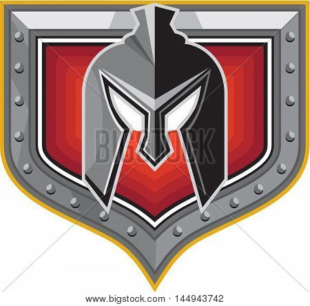 Illustration of a spartan helmet viewed from front set inside shield crest on isolated background done in retro style.