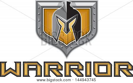 Illustration of a spartan warrior helmet viewed from front set inside shield crest with the word text Warrior in the bottom done in retro style.