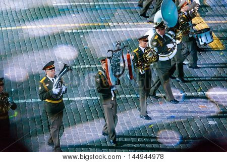 MOSCOW RUSSIA - AUGUST 26 2016: Spasskaya Tower international military music festival. The Russian Massed military band of the National Guard at the Red Square