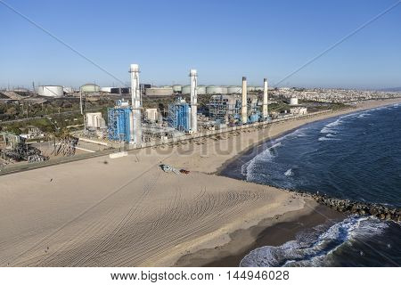 Los Angeles, California, USA - August 16, 2016:  Aerial view of power generating facility near Dockweiler state beach in Southern California.