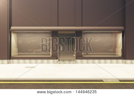 Front view of empty clean storefront in daylight. Mock up 3D Rendering