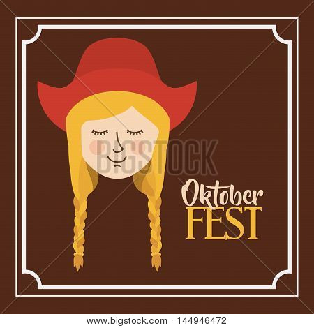 woman german germany cartoon avatar cloth traditional oktoberfest icon. Colorful frame and Flat design. Vector illustration