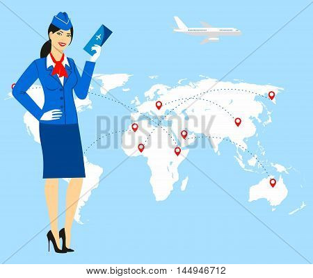 illustration of a stewardess in blue uniform holding tickets in hand, against the background of the world map.Travel concept
