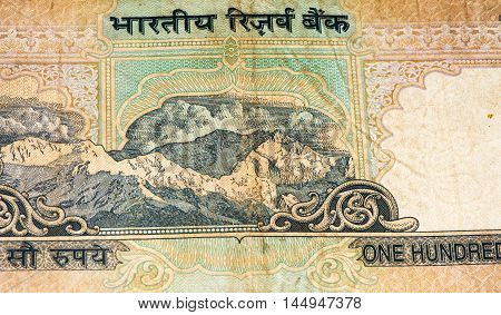 100 rupees bank note of India. Rupee is the national currency of India
