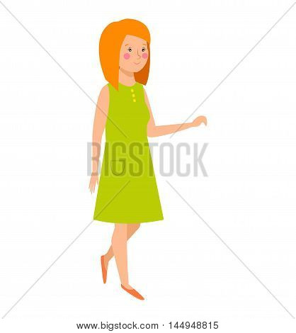 Illustration caucasian teenager staying girl. Young girl vector character and cute modern adult girl. Beautiful happy woman and conversation smiling pretty girl. Adult teen.