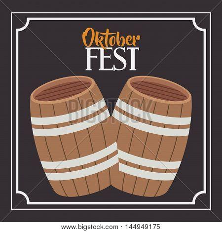 beer barrel frame food meu oktoberfest icon. Colorful and Flat design. Vector illustration