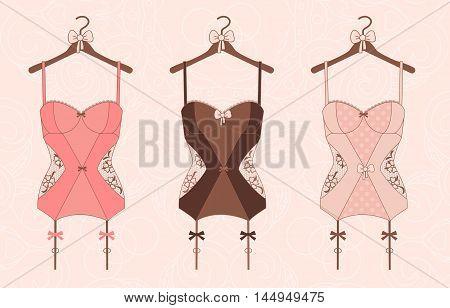Lace lingerie. Vector illustration, flat style. Women's clothing. Illustration for magazine, advertising brochures