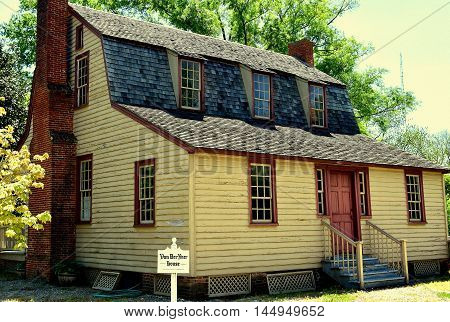 Bath North Carolina - April 25 2016: 1790 Van Der Veer Dutch Colonial Home with gambrel roof and three dormers