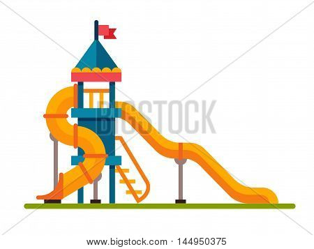 Illustration of a children slide with ladder in flat style. Children slide isolated on white background