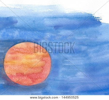 Red circle on a blue background. watercolor painting