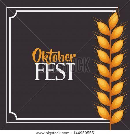 wheat ear frame food meu oktoberfest icon. Colorful and Flat design. Vector illustration