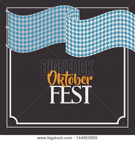 flag blue frame food meu oktoberfest icon. Colorful and Flat design. Vector illustration