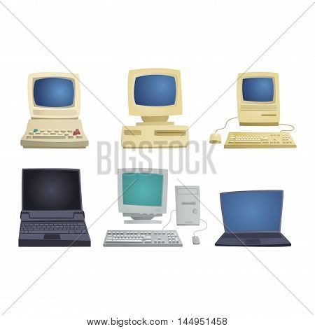 Computer technology vector set isolated display. Telecommunication equipment metal pc monitor frame computer modern office network. Old computer device electronic black equipment space.
