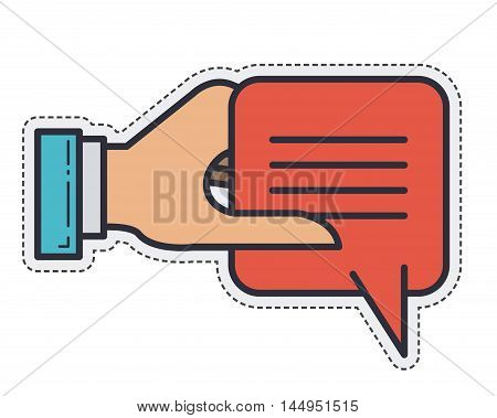 bubble message hand communication icon. Isolated and Flat design. Vector illustration