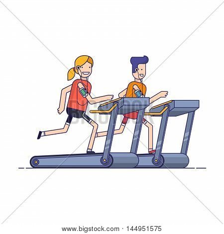 The guy with the girl goes in for sports on a treadmill while listening to music through the phone. People running in the gym. Man strengthens health exercise Thin line vector illustration Flat style