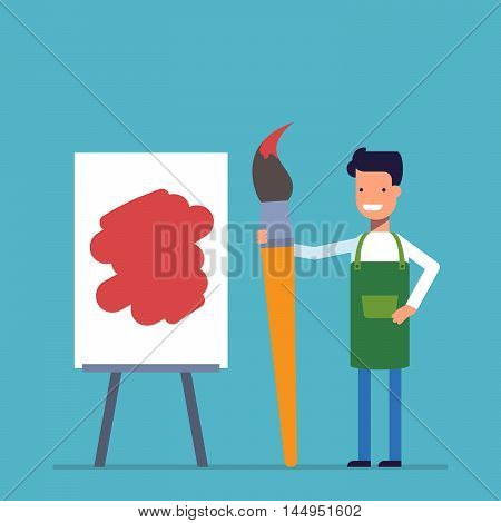 Artist man painting on canvas with art. Happy people with a large brush is standing next to the easel. Creative people profession. Flat vector illustration isolated on white background