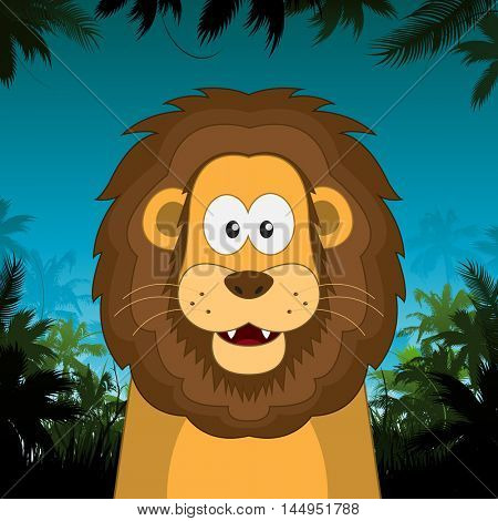 Cute cartoon lion in front of jungle background