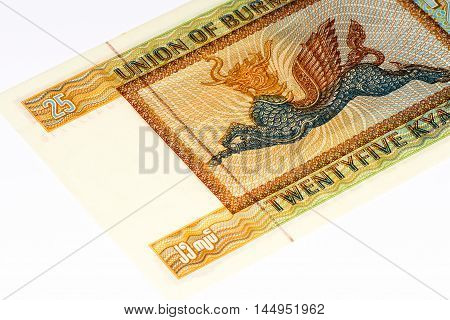 25 kyat bank note of Burma. Kyat is the national currency of Burma