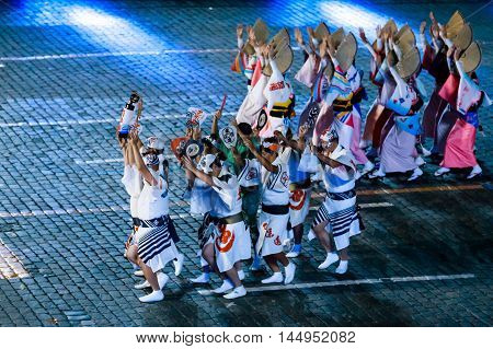 MOSCOW RUSSIA - AUGUST 26 2016: Spasskaya Tower international military music festival. The Japanese Folklore group