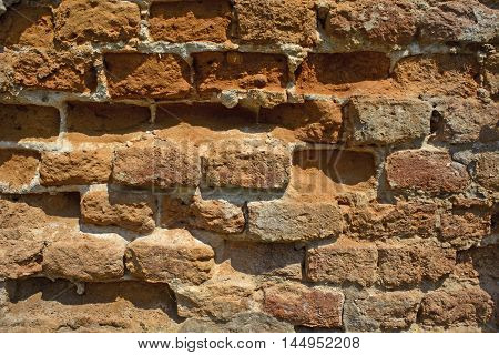 The old and damaged brick wall of the building.