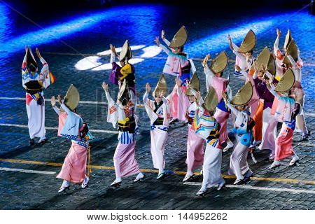 MOSCOW RUSSIA - AUGUST 26 2016: Spasskaya Tower internationa military music festival. The Japanese Folklore group