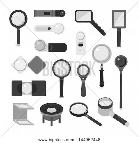 Magnifier loupe icons vector illustration.