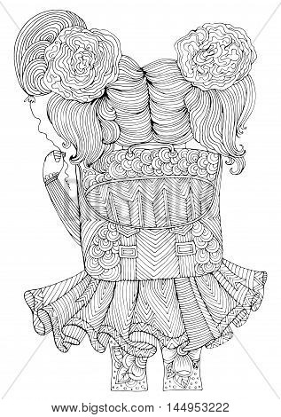 Vector little school girl with a large schoolbag and a balloon in her hand goes to school. Back to School. Pattern for coloring book A4 size. Coloring book for adults. Zentangle drawing.