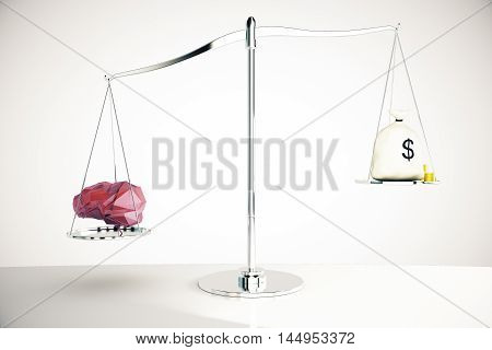Abstract polygonal brain on silver scales outweighing money sack on light background. Knowledge concept. 3D Rendering