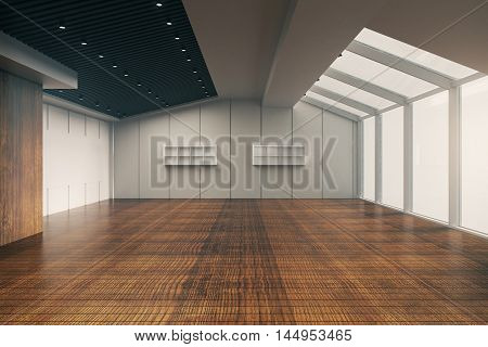 Front view of modern empty office interior with wooden floor patterned ceiling walls and panoramic windows with no view. 3D Rendering
