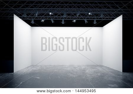 Empty white stage with lamps truss system. Mock up 3D Rendering