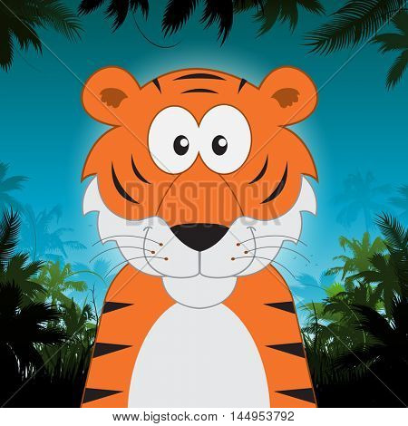 Cute cartoon tiger in front of jungle background