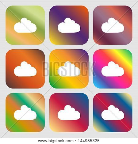 Cloud Sign Icon. Data Storage Symbol . Nine Buttons With Bright Gradients For Beautiful Design. Vect