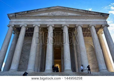 WASHINGTON DC - DECEMBER 19: Font view of Thomas Jefferson Memorial. Shot at December 19, 2015 in Washington DC, USA.
