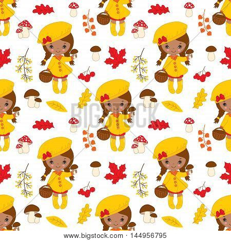 Vector seamless pattern with African American little autumn girl, berries, mushrooms and leaves