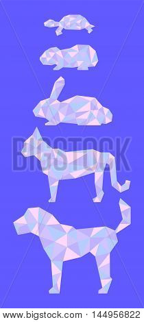 Low poly pets in pink and blue colors. Vertical vector illustration with dog cat rabbit guinea pig turtle. Domestic animals silhouettes for banner template or digital design. Polygonal animal icon