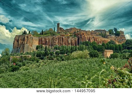 View at ancient town of Orvieto, Umbria, Italy, toned image