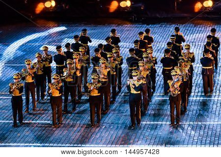 MOSCOW RUSSIA - AUGUST 26 2016: Spasskaya Tower internationa military music festival. The Central Military Band of the Ministry of Defense of Russia at the Red Square